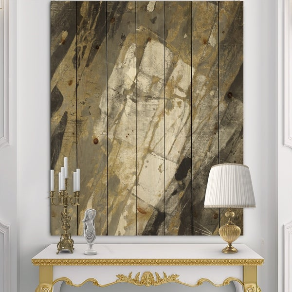 Designart 'Gold, Black and White Hanpainted Abstract' Traditional Print on Natural Pine Wood - Multi-color