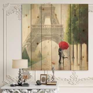 Designart 'Paris Romance Couples' Romantic French Country Print on Natural Pine Wood - Grey/Green
