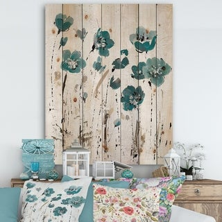 Designart 'Fields of Turquoise Watercolor Flower II' Traditional Print on Natural Pine Wood - Grey/Blue