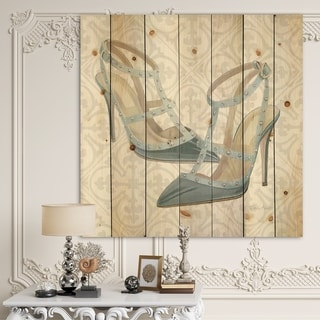 Designart 'Glam cosmetics Blue Shoes' Posh & Luxe Print on Natural Pine Wood - Grey