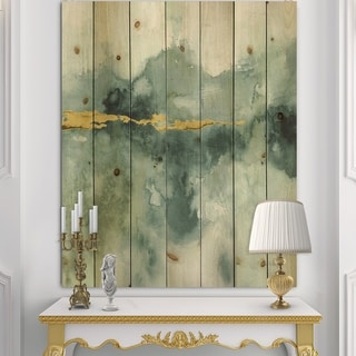 Designart 'Blue Watercolor Impression with Gold' Traditional Print on Natural Pine Wood - Blue/Green