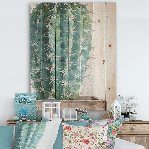 Designart 'Mixed Green Element I' Cottage Print on Natural Pine Wood