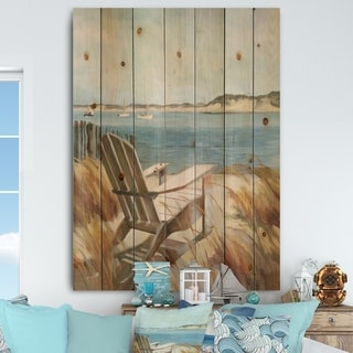 Designart 'Coastal Chair Relax Beach' Nautical & Coastal Print on Natural Pine Wood - Blue/Brown