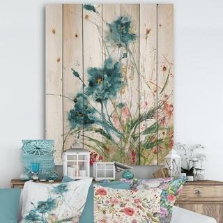 Designart 'Wild Blue Abstract Farmhouse Flowers' Modern Farmhouse Print on Natural Pine Wood - Multi-color