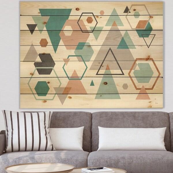 Designart 'Geometric hexagons Pattern VI' Transitional Print on Natural Pine Wood - Multi-color