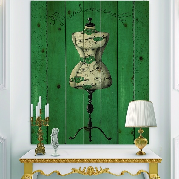 Designart 'French Couture III' Fashion Print on Natural Pine Wood - Grey