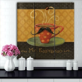 Designart 'Kitchen Cafe Moustache III' Kitchen Print on Natural Pine Wood - Red
