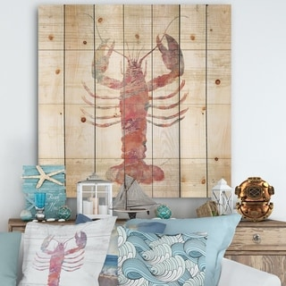 Designart 'Pink lobster Ocean Life' Nautical & Coastal Print on Natural Pine Wood - Grey/Pink