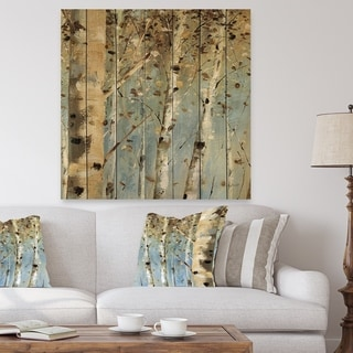Designart 'White Birch Forest I' Modern Farmhouse Print on Natural Pine Wood - Blue