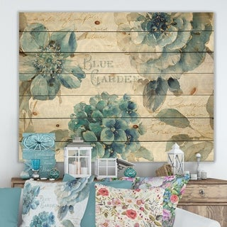 Designart 'My Greenhouse Cottage Flowers I' Farmhouse Print on Natural Pine Wood - Blue