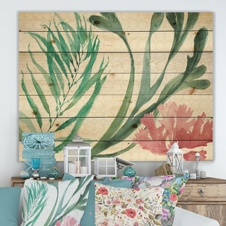 Designart 'Mixed Botanical Green Leaves III' Farmhouse Print on Natural Pine Wood - Pink
