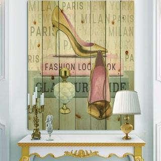 Designart 'Glam fashion High Heels III' Posh & Luxe Print on Natural Pine Wood - Pink