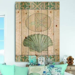 Designart 'Seastar and Blue Sea Shell II' Nautical & Coastal Print on Natural Pine Wood
