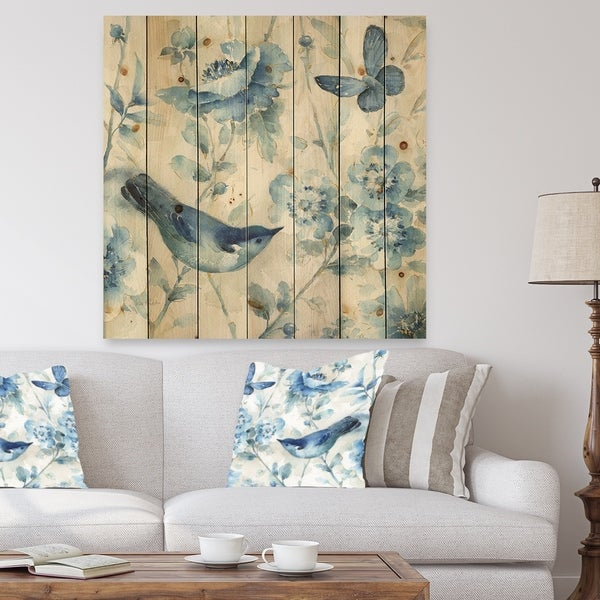 Designart 'Indigold Bird Cottage Family II' Farmhouse Print on Natural Pine Wood - Blue