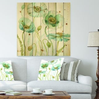 Designart 'Blue Cottage Flowers Drawing I' Farmhouse Print on Natural Pine Wood - Blue