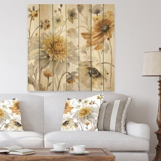 Designart 'Fields of Gold Watercolor Flower VI' Traditional Print on Natural Pine Wood - Grey