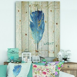 Designart 'Blue Damask Feather' Farmhouse Print on Natural Pine Wood - Blue