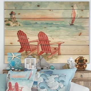 Designart 'Coastal Chair Relax Beach II' Nautical & Coastal Print on Natural Pine Wood - Blue/Red