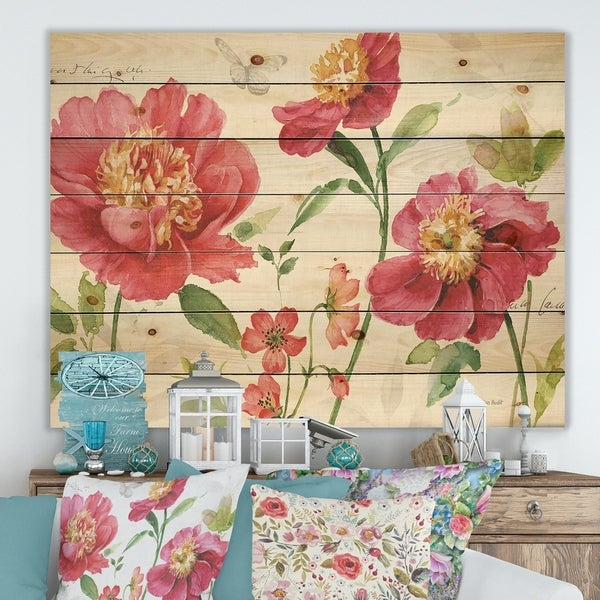 Designart 'Red Springflowers and Butterfly' Cabin & Lodge Print on Natural Pine Wood - Green/Pink