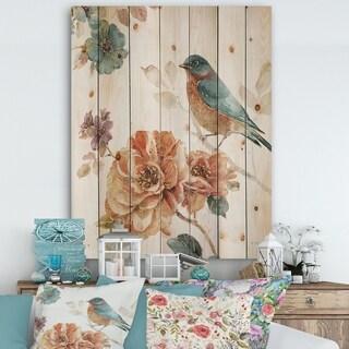 Designart 'Cottage Bird on Orange Flower Twig' Traditional Print on Natural Pine Wood - Multi-color