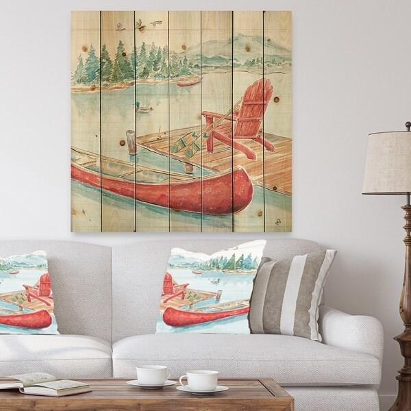 Designart 'Lake Moments IV' Lake House Print on Natural Pine Wood - Green/Pink