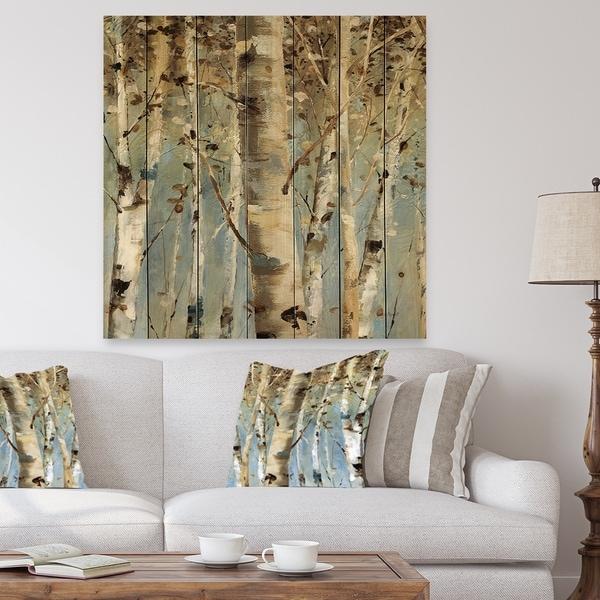 Designart 'White Birch Forest II' Modern Farmhouse Print on Natural Pine Wood - Blue