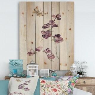 Designart 'Wild Simple Wallflowers IV' Farmhouse Print on Natural Pine Wood - Purple