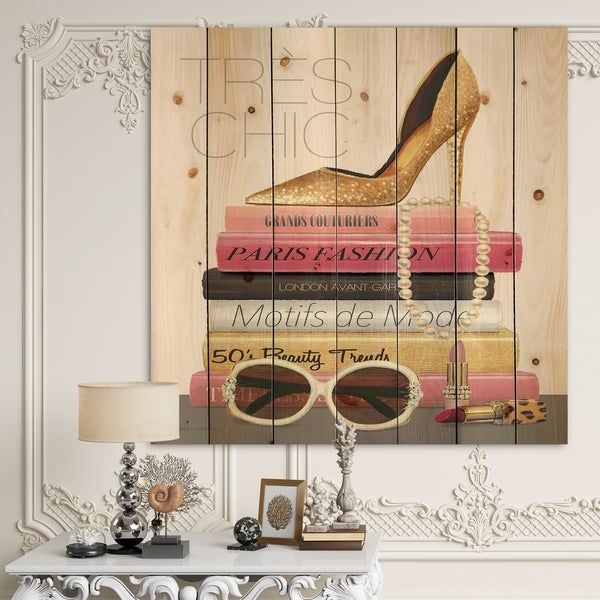 Designart 'Paris Style II Gold and Black Tres Chic' Posh & Luxe Print on Natural Pine Wood - Pink