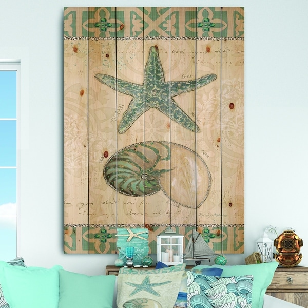 Designart 'Seastar and Blue Sea Shell I' Nautical & Coastal Print on Natural Pine Wood