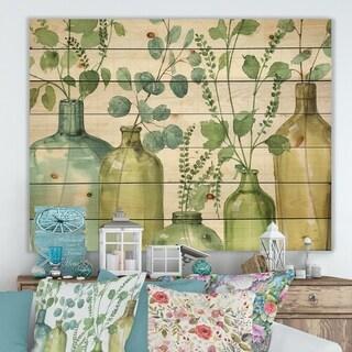 Designart 'Mixed Botanical Green Leaves I0' Cottage Print on Natural Pine Wood