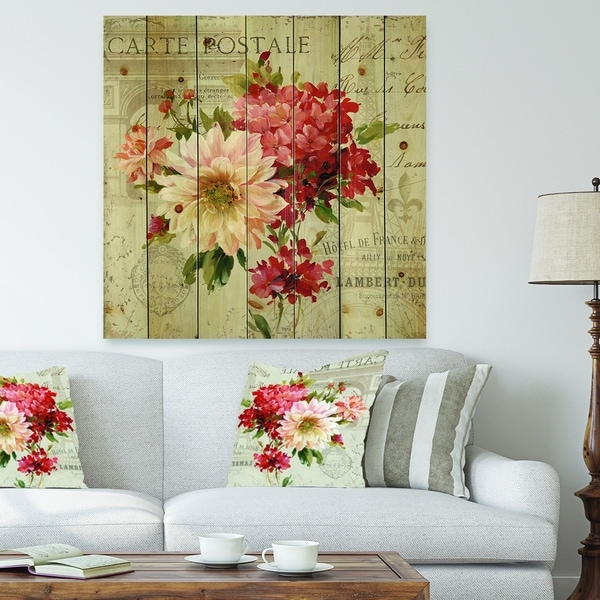 Designart 'Red Painted Flowers on Vintage Postcard III' Farmhouse Print on Natural Pine Wood - Pink/Red