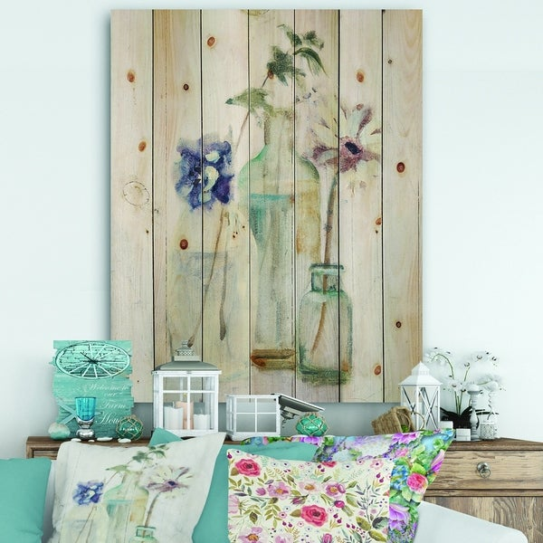 Designart 'Blossoms on Birch Cottage Bouquet III' Farmhouse Print on Natural Pine Wood - Blue/Purple