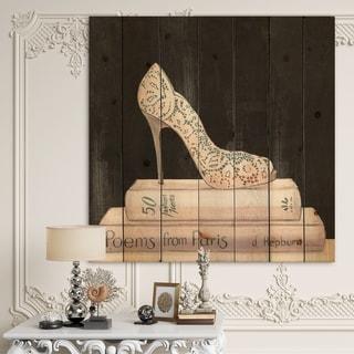 Designart 'Pink Fashion & Glam high heels I' Posh & Luxe Print on Natural Pine Wood - Black/Pink