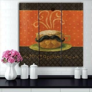 Designart 'Kitchen Cafe Moustache IV' Kitchen Print on Natural Pine Wood - Orange