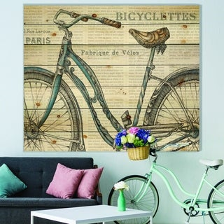 Designart 'Paris France Bicycles II' French Country Print on Natural Pine Wood - Grey