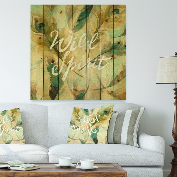 Designart 'Wild Spirit Blue And Cream Cottage Feathers' Farmhouse Print on Natural Pine Wood - Grey
