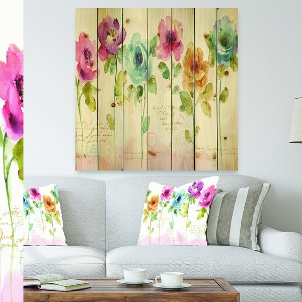 Designart 'Rainbow Coloured Cottage Roses' Cabin & Lodge Print on Natural Pine Wood - Blue/Green