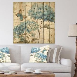 Designart 'butterfly Blue Garden II' Farmhouse Print on Natural Pine Wood