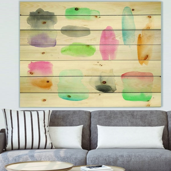 Designart 'Watercolor Geometric Swatch Element III' Mid-Century Modern Print on Natural Pine Wood - Multi-color