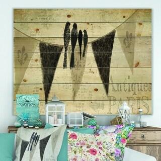 Designart 'French Bird Flea Market III' Farmhouse Print on Natural Pine Wood - Black