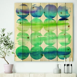 Designart 'Circle Abstract Blue Colorfields I' Modern & Transitional Print on Natural Pine Wood - Green