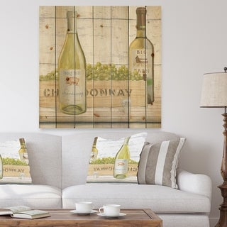 Designart 'White Chardonnay Wine Bottles' Food and Beverage Print on Natural Pine Wood - Grey