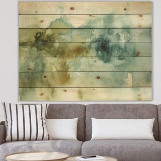 Designart 'Abstract Watercolor Green House' Modern & Contemporary Print on Natural Pine Wood - Blue