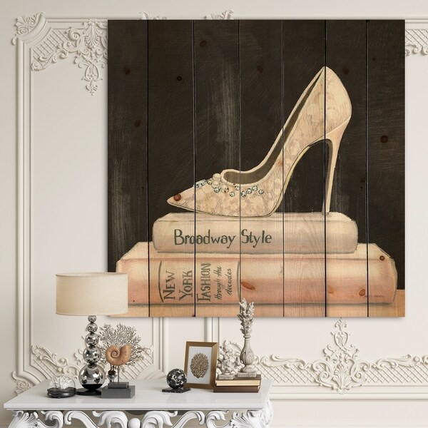 Designart 'Pink Fashion & Glam high heels II' Posh & Luxe Print on Natural Pine Wood - Black/Pink