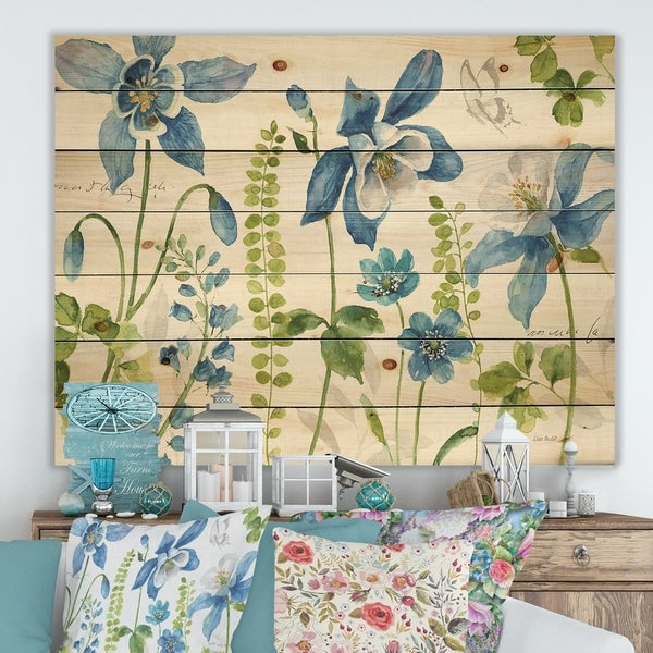 Designart 'Bluebell and Columbine Wild Flowers with Butterfly' Cabin & Lodge Print on Natural Pine Wood - Blue/Green