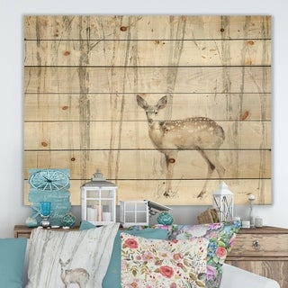 Designart 'A Woodland Walk into the Forest I' Modern Farmhouse Print on Natural Pine Wood - Grey