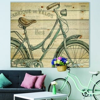 Designart 'Paris France Bicycles III' French Country Print on Natural Pine Wood - Grey