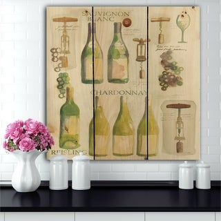 Designart 'White Chardonnay Wine Collage' Food and Beverage Print on Natural Pine Wood - Green