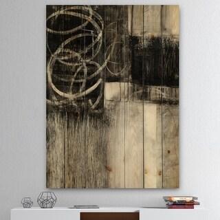 Designart 'A Geometric Day I' Mid-Century Modern Print on Natural Pine Wood - Black/Grey