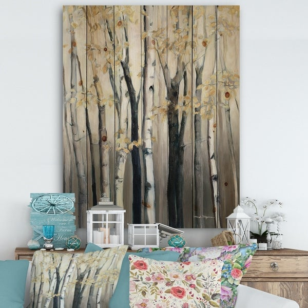 Designart 'Golden Birch Forest III' Farmhouse Print on Natural Pine Wood - Grey